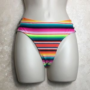 Rainbow Striped Bikini Bottoms Size Medium